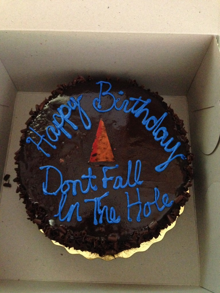 Don't Fall in the Hole Birthday Cake